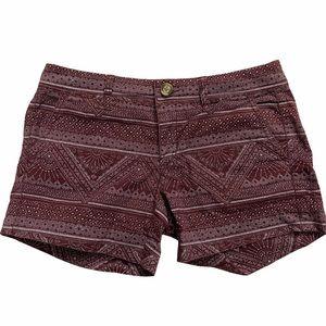 American Eagle Purple Aztec Print Midi Shorts